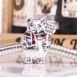 Wholesale Berry Bracelet - 2017 Winter 925 Sterling Silver Christmas Polar Bear With Berry Red Enamel Charm Beads Fits European Bracelets Necklaces 796466EN39
