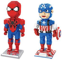 Wholesale Spiderman Toy Building - 1780+pcs diamond Heroes series Spiderman Captain America Nano batman superman Blocks Kids Building Bricks DIY Toys #3494-3497