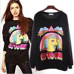 Wholesale sweater rainbow woman - Women Rainbow Unicorn Hoodie Sweatshirt Pullover Top Sweater Horse Printed Loose Hoodie Blouse Pullover Jumper Sweaters OOA3375