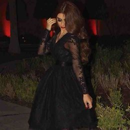 Wholesale Long Sleeve Tea Length Gown Peplum - homecoming 2017 Sexy Short Prom Dresses V Neck Long Sleeves Sheer Tulle Tea Length Without Train Black Lace Party Prom Gowns Fast Shipping