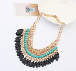Wholesale Beaded Choker Black - Gothic Vintage Women Party Statement Necklace Chains Chokers Tassel Black Water Layers Beaded Jewelry