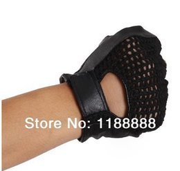Wholesale Leather Fingerless Bicycle Gloves - Wholesale-free shipping fingerless bicycle, weight lifting ,running ,fishing, sailing leather glove MG310