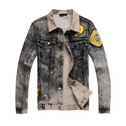 Wholesale Designer Motorcycle Jackets Men - 2018 men hoody jacket coat motorcycle denim jacket old washed fashion designer hooded teenager Slim denim jacket