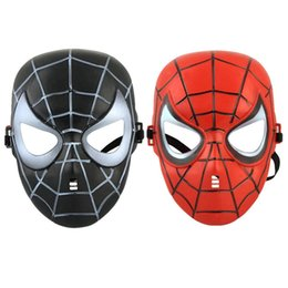 Wholesale Mask Spider Man Red - Red Black Classic Cartoon Spider-Man Mask Full Face For Children Humor Games Film Bauta Mask Anti-stress Hot Sale New 10Pcs Lot