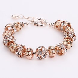 Wholesale Rose Gold Color Beads - AA35 Romantic Rose Gold Color Crystal European 925 Silver Charm Beads DIY Snake Chain Bracelets Adjustable