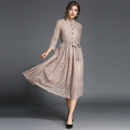 Wholesale Womens Vintage Lace Clothes - 2017 Winter Dresses For Womens Elegant High Quality Casual Dresses Women Plus Size Clothing Party Dress With Decorative Stand Lace Clothes