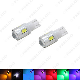 Линза smd led онлайн-Оптовая продажа автомобилей DC12V T10 194/168 Клин 6-SMD 5630 Светодиодная лампа с объективом 7-цветный # 1719