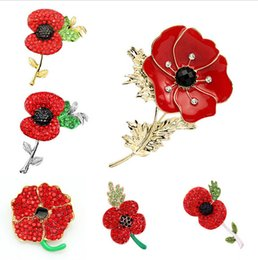 Wholesale Delicate Crystal Brooches - Fashion Loved Clothes Sweater Accessories Simple Delicate Crystal Brooches Silver Colored Poppy Flower Shape Brooch pins Kate brooch