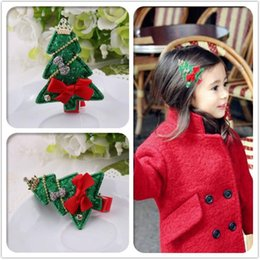 Wholesale Tie Clips For Girls - New Kids Christmas Tree Hair Clips Lovely Baby Girl Crown Rhinestone Bow Tie Hair Accessories High Quality for Wholesale