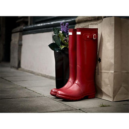 Wholesale Pvc Wellies - Women RAINBOOTS Fashion Knee-high Tall Rain Boots Waterproof Welly Boots Rubber Rainboots Water Shoes Rainshoes