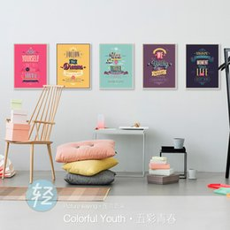 Wholesale Color Life Paint - Modern Motivational Life Quotes A4 Poster Print Hippie Color Wall Art Picture Vintage Nordic Home Decor Canvas Painting No Frame