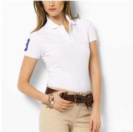 Wholesale Womens Small Shorts - Brand Designer Womens Polo T-Shirts Small Horse Embroidery T Shirts Lapel Short sleeved Shirts Womens Tops & Tees Ladies Poloshirt M-XXL