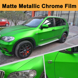 Wholesale Chrome Vehicle Wrap - Metallic Chrome Apple Green Vinyl Car Wrapping Film with air release Matte chrome green wrap Foil Vehicle styling 1.52x20m Roll