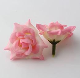 décorations de porte du nouvel an chinois Promotion Chaud! 100pcs rose à sertir rose fleur tête de mariage en soie décoration de fleurs boule de fleur arrangement de fleurs