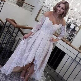 Wholesale Wedding Collar Shoulder - Retro Lace High Low Wedding Dresses 2018 Off The Shoulder Long Sleeves Bridal Gowns Low Back Beach Wedding Vestidos Cheap Custom Made