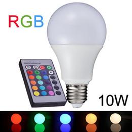 Wholesale Globe Bulb B22 Remote - NEW E27 10W RGB LED Lamp 110V 220V 16 Color Change RGB LED Bulb Light Lampe Remote Control RGB Lampara Bombillas LED A65