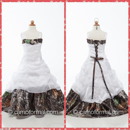 Wholesale Images Christmas Gifts - Custom 2015 Spaghetti Neck Camo Flower Girls Dresses Floor-Length Beaded Sequins Ruffles Pageant Party Gowns For Girls Birthday Gift Dresses
