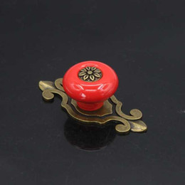 Wholesale Antique Red Cabinet - Red Antique Furniture Knobs Ceramic Kitchen Cabinet Knobs Cupboard Door Drawer Pull Furniture Handles + Screw Free Shipping