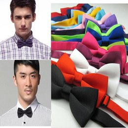 Wholesale Candy Color Men Ties - 12pcs Formal Commercial Tuxedo Marriage Bow Ties For Men Candy Color Butterfly Cravat Bowtie Butterflies Adjustable Free Ship