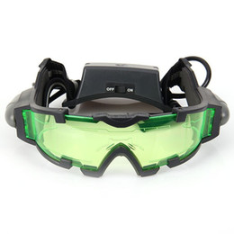 Wholesale Optics Glasses - Portable Sport Camping Equipment Green Lens Adjustable Night Vision Goggles Glasses Eyewear With Flip-out Light
