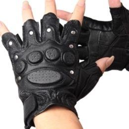 Wholesale Genuine Leather Gloves Wholesale - Wholesale-Rivet gloves genuine leather semi-finger gloves outdoor gloves genuine leather gloves sports fitness hip-hop