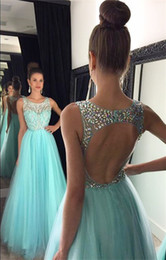 Wholesale Sparkly Pink Formal Dress - 2016 New Prom Dresses Sparkly Crystal Beads Jewel Neck Illusion Sleeveless Long Light Blue Tulle Backless Party Formal Pageant Evening Gowns