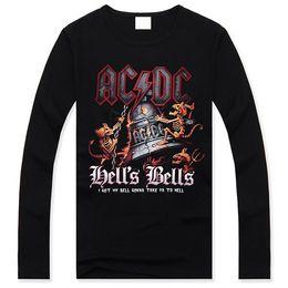 Wholesale Cheap V Neck Mens Shirts - FG1509 2014 Fashion Black t Shirts Mens Long Cheap 3D Print ACDC Hells Bells Clothing For Men Hip Hop Trend Sleeve Brand Popular Design