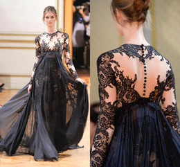 Wholesale Zuhair Murad Burgundy Chiffon Dress - Zuhair Murad 2016 Long sleeves Formal Evening Dresses Christmas Sexy Black A-Line Prom Pageant Dresses Covered Button Sheer Lace BO2166