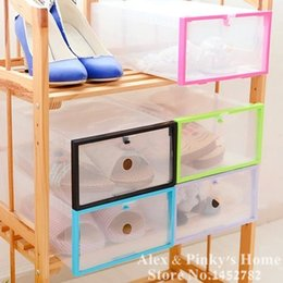 Wholesale Clear Shoe Drawers - 1PC Free Combination Shoes Box Drawer Organizer Shoe Storage Cover Wrapping Clear Plastic Shoe Storage Box