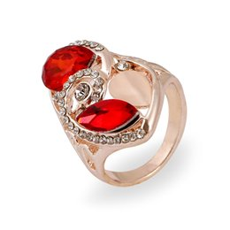 Wholesale Red Crystal Ring Opal - New Arrive Romantic Crystal Ring Rose Gold Plated Austrian Crystals Rings Red  Blue Opal Rings For Women 24pcs Lot