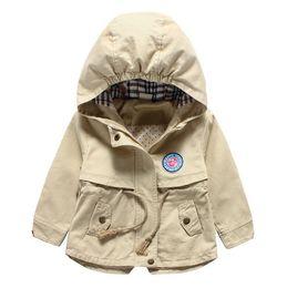 Wholesale Childrens Boy Coats - 1PCS 2016 New Childrens Boys Hooded Trench Coats Autumn Fashion Handsome Kids Jacket Cotton Khaki Childrens Outwear,E40