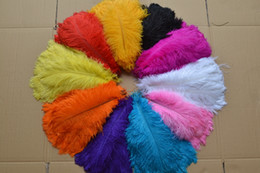 Wholesale Black Feather Plume - Wholesale - 100pcs a lot 12-14inch Ostrich Feather Plume White,Black,Royal Blue,Red,Ivory,Yellow,Pink,Purple,Gray,Fushia,Gold,Orange,
