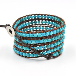 Wholesale Natural Blue Moonstone - 2015 New 6mm blue turquoise bead wrap bracelet new design Colorful Bohemian Style Elasticity Handmade Natural Stone Beads