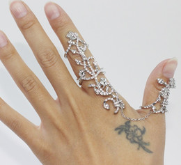 Wholesale Double Finger Chain Rings - New fashion accessories jewelry chain link clear rhinestone rose flower double finger ring for women girl nice gift LZ