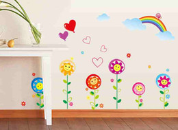 Wholesale Sunflower Stickers Free Shipping - Colorful Smiling Sunflower Bee Wall Decal Sticker Vinyl Art Kids Room Home Decor free shipping Accessories for bedroom