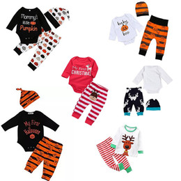 Wholesale Boys Western Hat - Over 40 styles XMAS INS NEW Baby Baby Girls Christmas hollowen Outfit Kids Boy Girls 3Pieces set T shirt + Pant + Hat 0-2Years Free