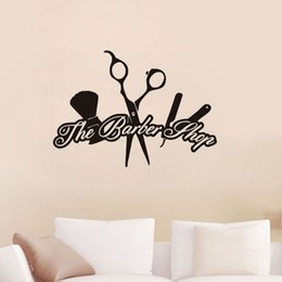 Wholesale televisions for bathrooms - The Barber Shop Wall Stickers Creative Removable Vinyl Wall Decals Hairdressing Barber Tools Sticker Wall Décor