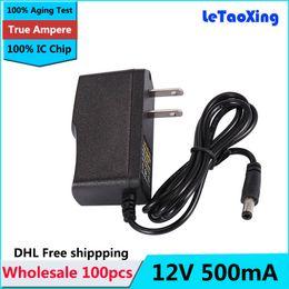 Chips de energia on-line-Com IC Chip de Alimentação AC DC 12 V 500 mA Adaptador, 12 V 0.5A Carregador Adaptador 100 pcs DHL Frete grátis