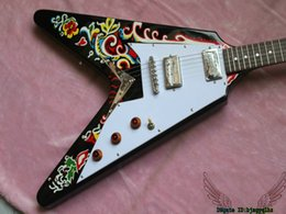 Personalizzate in chitarre online-Black Custom Shop Jimi Hendrix Psychedelic 1967 Chitarra elettrica Flying V China Guitars