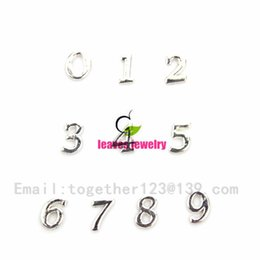 Wholesale Charms Locket Sell - New fashion Hot selling silver 0-9 number floating charms living glass floating lockets(1lot=100 pcs),best gifts for my dear