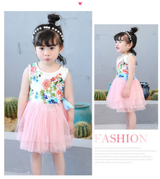 Wholesale Cotton Balls Lights - Girls floral tutu dress summer Children baby kids tulle wholesale 1-5 yrs wedding party tulle clothes 5BB406DS-93 [Eleven Story]