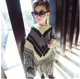 Wholesale China Winter Baby Wear - Wholesale-Girls sweaters Fringed Shawl cape top fashion clothing 2016 children's wear China winter baby pullover