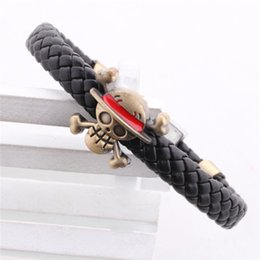 Wholesale Anime Charms - One Piece Monkey D Luffy Skull PU Leather Knitted Bracelet bangel cuff anime jewelry 161059