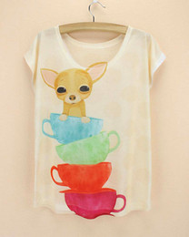 Wholesale Low Price Girl Dresses - Wholesale-Cute Dog Chihuahua pattern t-shirt for women fashion summer dress 2016 new arrival girls blusas low price wholesale top tees