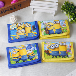 Wholesale Minions Gift Box - 12pcs Mini Coin Purse Money Bag Wallet despicable me 2 minion Birthday Party supplies Gift Party Favors For Kids Boy Girl