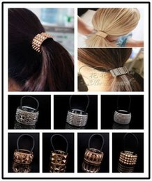 Wholesale Face Tie - 10pcs Punk Gothic Fake Metal Hair Cuff Ponytail Clip Tie Holder Hair Band ELASTIC WRAP