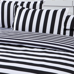 red white black quilt sets Promo Codes - Wholesale-New Arrival Striped Bedclothes White And Black Cotton Quilt Cover Soft Printed Bedding Set 3pcs Or 4pcs Wholesale