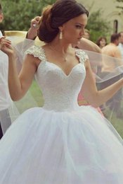 Wholesale Cheap Fluffy White Princess Dress - 2016 Spring Wedding Dresses Lace Top Cap Sleeves Beads Fluffy Tulle Ball Gown Sweep Train Cheap Plus Size Church Garden Bridal Wedding Gowns