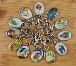 Wholesale Enamel Key Charm - 50PCS Vintage Mixed Enamel Charms Drip Jesus Virgin Mary Key Chain Ring For Keys Car DIY Bag Key Chain Handbag Gift Accessories P1653