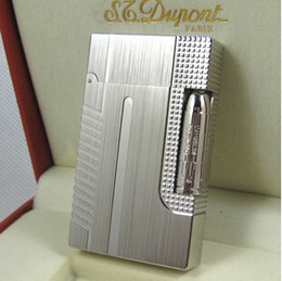 Wholesale Metal Bullet Lighters - Free shipping ST memorial Dupont lighter Pure copper 007 Bullet head series Sliver Wire drawing bright sound gas lighter
